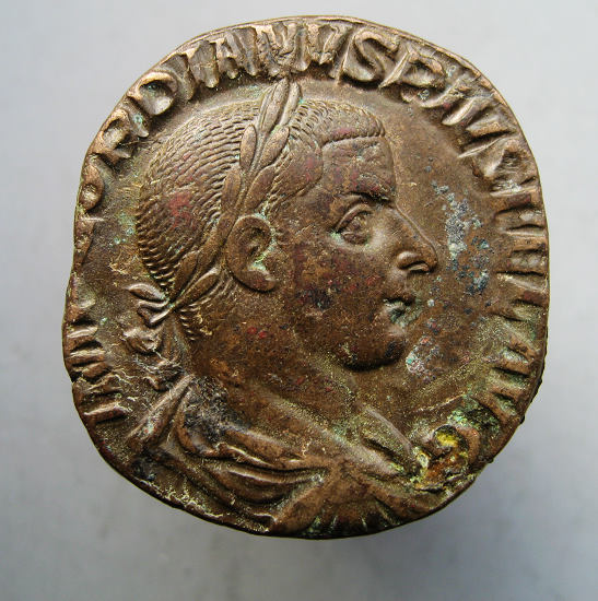 制币 古罗马,戈尔迪安三世,塞斯特提大铜币 铜元和机制币 古钱 钱