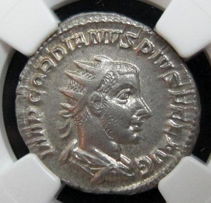 古罗马帝国戈尔迪安三世银币 近未流通品
