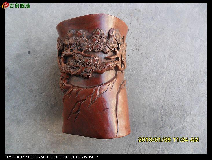 木头雕刻的人物笔筒一个