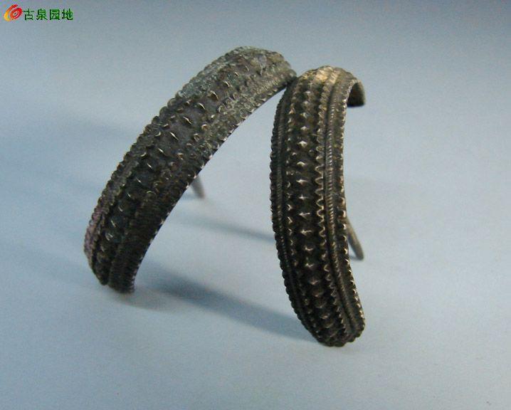 古代银簪子简笔画-漆古.菱花纹银发簪 一对 编号A8 74
