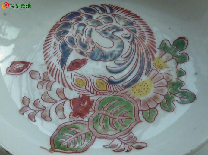 精美·民国·日本手绘·孔雀花卉笔洗