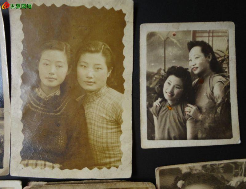 九张民国上海美女老照片 竹木石碑帖书画正
