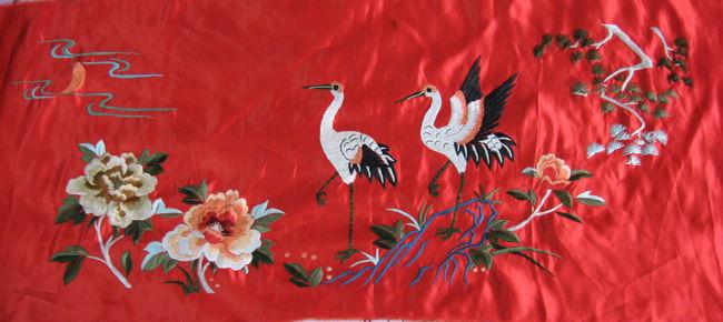 仙鹤牡丹刺绣